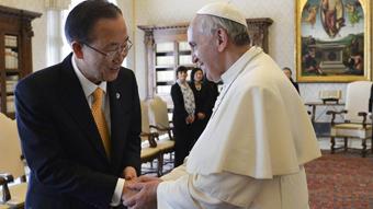 El titular de la ONU y el Papa, en el Vaticano