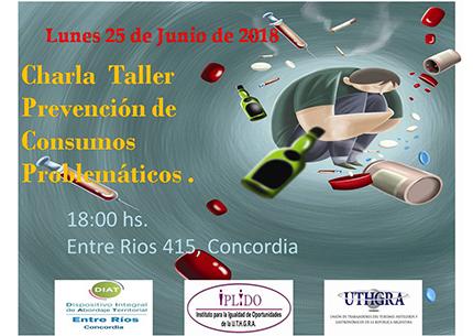 """Charla Taller: """"Prevención De Consumos Problemáticos"""""""