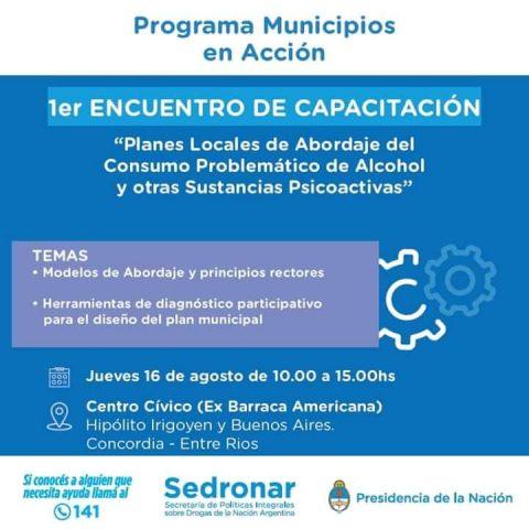 """1° Capacitación Del Programa Nacional De SEDRONAR: """"Municipios En Acción"""""""